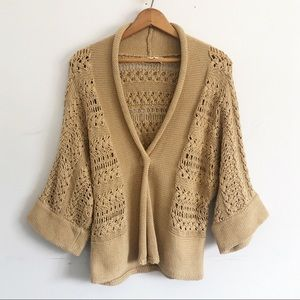 Jones New York Beige Oversize Sweater Knit Shrug